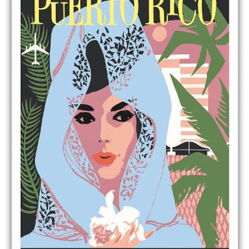Puerto Rico - Delta Air Lines - Woman in Blue Lace Mantilla - Vintage Airline Travel Poster c.1960s - Master Art Print - 9in x 12in
