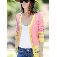 Pink V-Neck Button Striped Mesh Cardigan