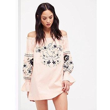 Free People Womens Fleur DU Jour Embroidered Bell Sleeves Mini Dress