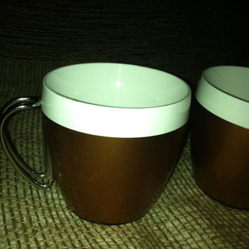 West Bend Thermo coffee mugs with chrome handles - collectible