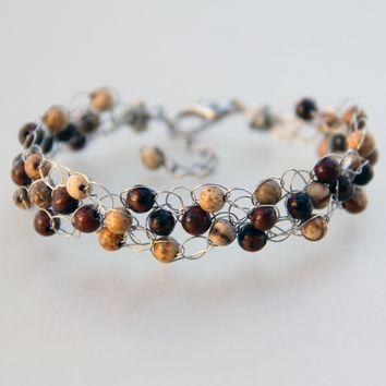 Chunky crocheted wiring beaded brown stone Bracelet Bridesmaid gifts Free US Shipping handmade Anni designs