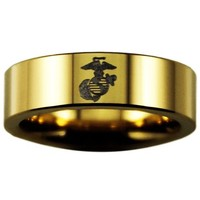 Gold Tungsten Slim USMC Ring