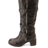 Bamboo Belted Heel Knee-High Motorcycle Boots - Black