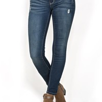Harlow Skinny Distressed Feather Luxe Jeans