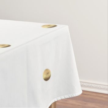 White and Gold Look Polka Dots Pattern Elegant Tablecloth