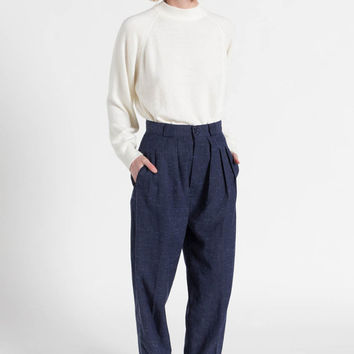 Vintage 80s Midnight Blue Woven Textured High Waist Pleated Trousers | 2