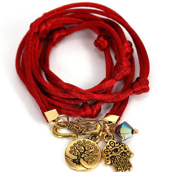 Satin Cord Wrap Bracelet - Carmine Red with Gold Hamsa, Tree of Life, and Siam Swarovski Crystals