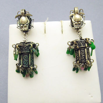 Vintage Lantern Earrings Mexico Artisan Jewelry E6917