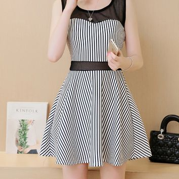 Casual Patchwork See-Through Striped Skater Dress