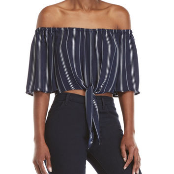 Striped Self-Tie Crop Top