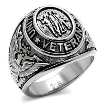 US Veteran – United States Veteran antiqued stainless steel signet ring