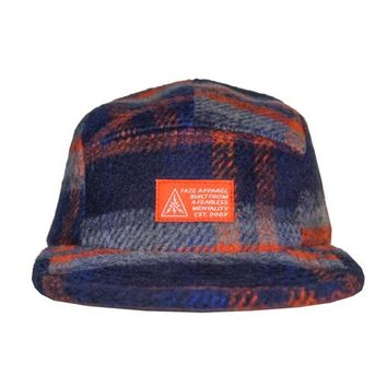 Blue Collar 5-Panel Strapback Hat in rust, grey, navy, and royal