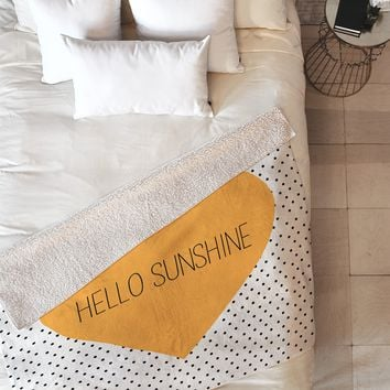 Allyson Johnson Hello Sunshine Heart Fleece Throw Blanket