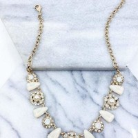 Rhinestone Pearl Statement Necklace