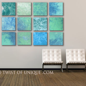 Industrial SeaGlass Wall Art, - Huge 12 panel ORIGINAL Abstract Painting - Ocean, Sea, Water, Blue, Green, vivid colors