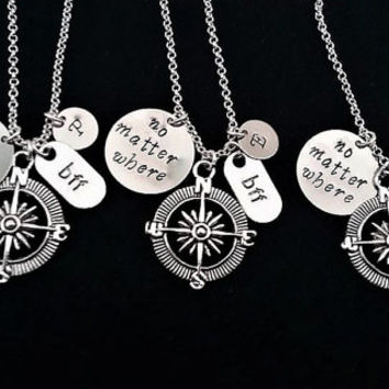 4 best friend necklace, silver necklace, no matter where charm, personalized initial friendship jewelry, four BFF, compass pendant gift her
