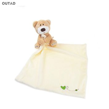 OUTAD Children Bath Towels Lovely Cartoon Super Soft Baby Care Towel Strong Absorbent bear Soft Plush Blanket Saliva towel