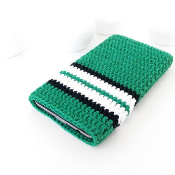 Sport iPhone 8 phone pouch, Emerald Samsung Galaxy S9 cover, Google Pixel 2 case, vegan Nokia 1 cozy, LG K8 sleeve, crochet OPPO A71 sock