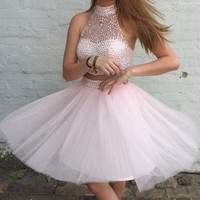 Girly Two Pieces Pink Beaded Halter Homecoming Dresses K256