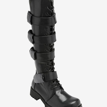 Volatile 4 Buckle Lace-Up Knee Boots
