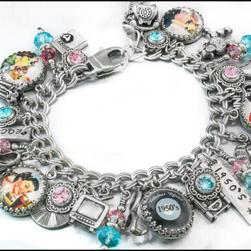 Fifties Charm Bracelet, Retro Charm Bracelet, 1950's Bracelet, Rock N' Roll Bracelet, Rockabilly Jewelry