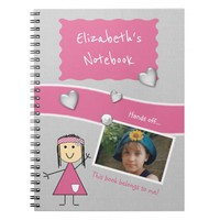 Kids Pink and gray Photo Notebook