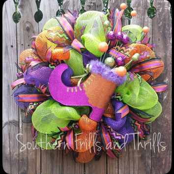 Halloween Wreath, Halloween Deco Mesh Wreath, Deco Mesh Wreath, Mesh Wreath, Whimsical Wreath, Witch Wreath, Outdoor Wreath, Door Wreath