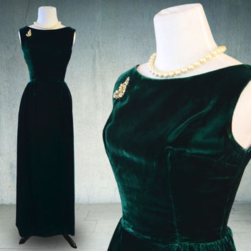 1960s Dark Green Velvet Evening Gown Sheath Dress Union Label