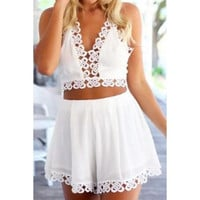 Sexy Spaghetti Strap Backless Lace Spliced Tank Top + Solid Color A-Line Shorts Women's Twinset