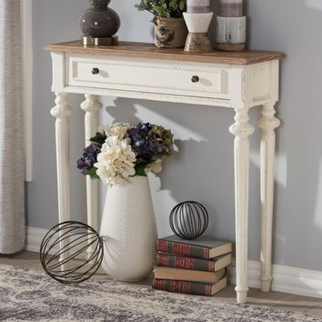 Baxton Studio Marquetterie French Provincial Style Weathered Oak and White Wash Distressed Finish Wood Two-Tone Console Table Set of 1