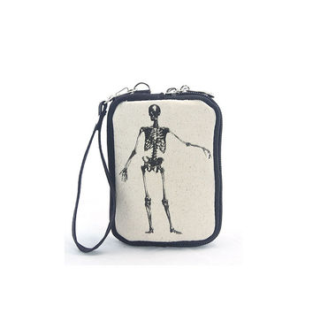 Vintage Print Skeleton Canvas Wristlet Bag Cosmetic Makeup Money ID CC