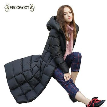 2017 New Winter Women Down Jacket Long sleeve Solid color Hooded Loose Fashion Long Women Coat Warm Casual Comfortable WLX208