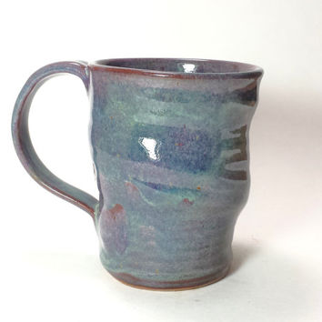 Purple and Green,Handmade Ceramic Pottery Mug with wave design,Coffee Mug,Beer Mug,Hot chocolate mug,Ready to Ship
