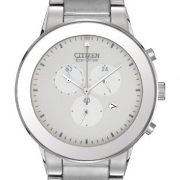 CITIZEN ECO DRIVE MENS AXIOM STAINLESS STEEL CHRONOGRAPH DATE WATCH AT2240-51A