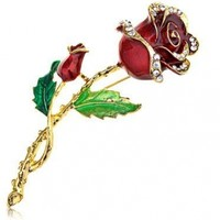 Alilang Womens Belle Red Rose Flower Enamel Crystal Rhinestone Brooch Pin Gold Tone