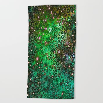RAINBOW DOTTY OCEAN 3 Green Lime Ombre Space Galaxy Colorful Polka Dot Bubbles Abstract Painting Art Beach Towel by EbiEmporium