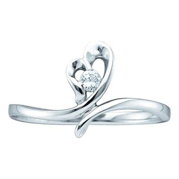14kt White Gold Womens Round Diamond Heart Love Promise Bridal Ring 1/20 Cttw