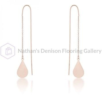 Chloe Rose Gold Stainless Steel Teardrop Threaded Drop Earrings E01873A-V00