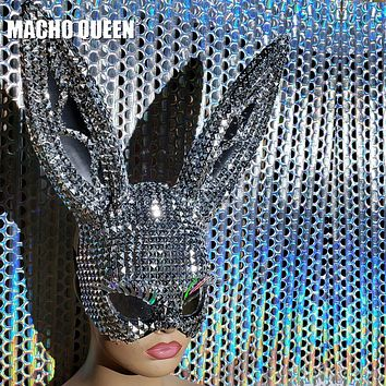 Lush Lashes Riveted Bunny Ears Face Mask (Silver/Gold)