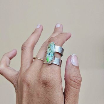 Monarch Opal Sterling Silver Statement Cage Ring