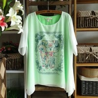 Lovely Elephant Chiffon Tops