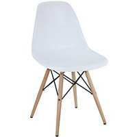 Poly and Bark Eames Style Molded Plastic Dowel-Leg Side Chair with Natural Legs, White