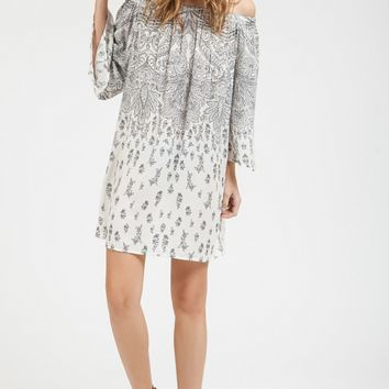Paisley Off Shoulder Shift Dress