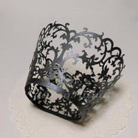 Cupcake Wrappers | Black Pearl Swirl Lace Cupcake Liners |Decoration Party Baby Shower Birthday Wedding Cake Wraps | Filigree 12pcs (CP28BK)