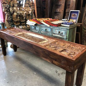 Antique Indian Sofa Table Tribal Carving Haveli Stone  Extra Long Wooden Console Rustic Luxury Table Vintage Style