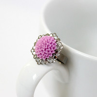 Lilac Mum Resin Flower and Silver Adjustable Ring - Handmade Feminine Jewelry - Ready to Ship