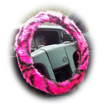 Pretty faux fur Pink and black tiger stripe fuzzy car steering wheel cover fluffy and furry