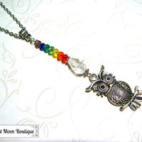 Chakra Beaded Necklace Yoga Healing Meditation Jewelry Crystal Wiccan Pagan Spiritual Silver Necklace Metaphysical 7 Chakras Owl Woodland
