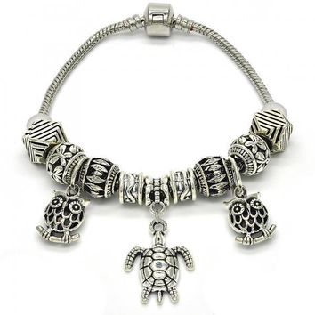 Rhodium Layered 03.179.0022.08 Charm Bracelet, Turtle and Owl Design, Polished Finish, Rhodium Tone
