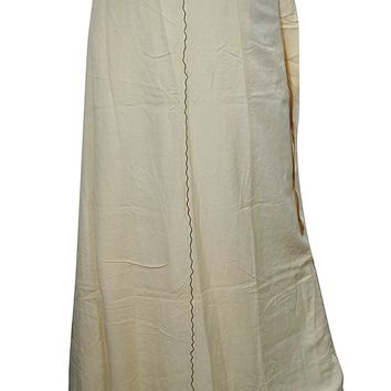 Indian Wrap Around Skirt Hippie Beige Embroidered Maxi Wrap Skirts